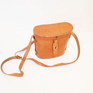 Vintage leather binocular case crossbody bag EVC!!